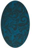 rug #412377 | oval blue damask rug