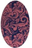 rug #412389   oval pink damask rug