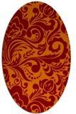 rug #412485 | oval red-orange damask rug