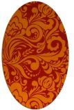 rug #412541 | oval orange damask rug