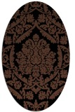 rug #421113 | oval brown damask rug