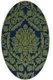 rug #421133 | oval green damask rug