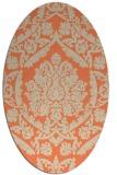 rug #421293   oval orange damask rug