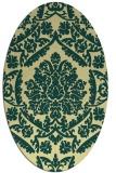 rug #421301 | oval yellow damask rug