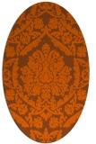 rug #421361 | oval red-orange damask rug