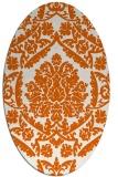 rug #421365 | oval red-orange damask rug