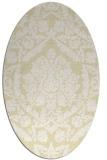 rug #421389 | oval yellow damask rug