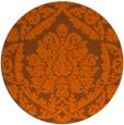 rug #422065 | round red-orange damask rug