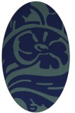 rug #447529 | oval blue-green abstract rug