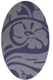 rug #447585 | oval blue-violet graphic rug