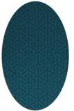 rug #505657   oval blue retro rug