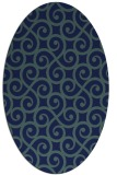 rug #512649 | oval blue traditional rug