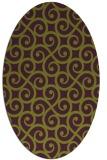 rug #512845 | oval green traditional rug