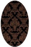 rug #514393   oval brown damask rug