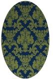 rug #514413 | oval blue damask rug