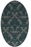 rug #514505 | oval green damask rug