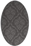 rug #518045 | oval brown damask rug