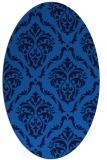 rug #518065 | oval blue damask rug