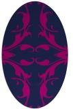 rug #519685 | oval blue damask rug