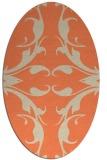 rug #519853 | oval orange damask rug