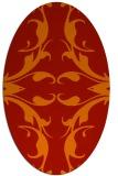 rug #519901 | oval orange damask rug