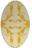 rug #519945   oval yellow damask rug
