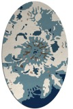 rug #549601 | oval blue-green abstract rug