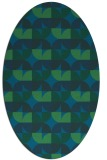 rug #551417 | oval blue-green rug