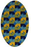 rug #551505   oval blue retro rug