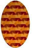 rug #551525 | oval red-orange retro rug