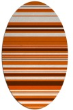 rug #556885 | oval red-orange stripes rug