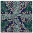 rug #561577 | square blue-green damask rug