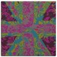 rug #561609 | square blue-green damask rug