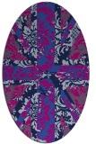 rug #561925   oval blue retro rug