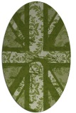 rug #562021 | oval green damask rug