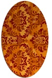rug #562085 | oval red-orange damask rug