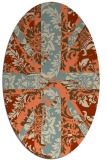 rug #562093 | oval orange damask rug
