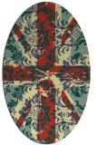 rug #562101   oval yellow damask rug