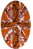 rug #562165 | oval red-orange damask rug
