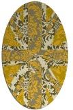 rug #562185   oval yellow damask rug