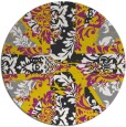rug #562901 | round yellow damask rug