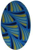 rug #572625   oval blue retro rug
