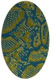 rug #588357   oval green animal rug