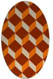 rug #597413   oval orange retro rug