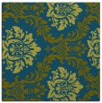 rug #598565 | square blue-green damask rug