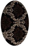 rug #598869   oval beige damask rug