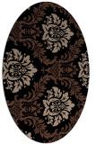 rug #598873   oval black damask rug