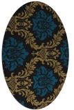 rug #598877 | oval brown damask rug