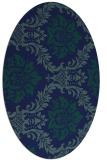 rug #598889 | oval blue damask rug