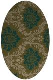 rug #598977   oval brown damask rug